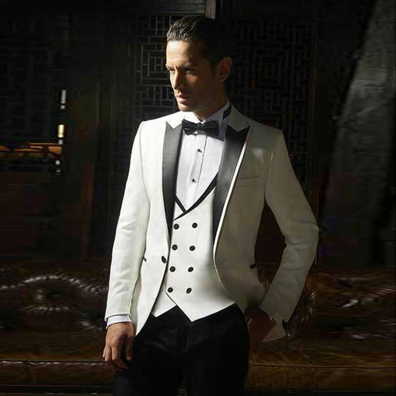 男性コートパンツデザイン 2019 カスタムメイドホワイトブレザー新郎スーツ男性スリムフィットの結婚式のウエディングスーツベストマン衣装 3 個オム