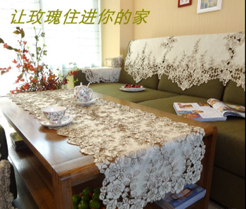 Champ-agne Rose Elegant Embroidery Table Runner Pastoral Fabric Tea tablecloth, Luxury Table mat table Cover for decoration