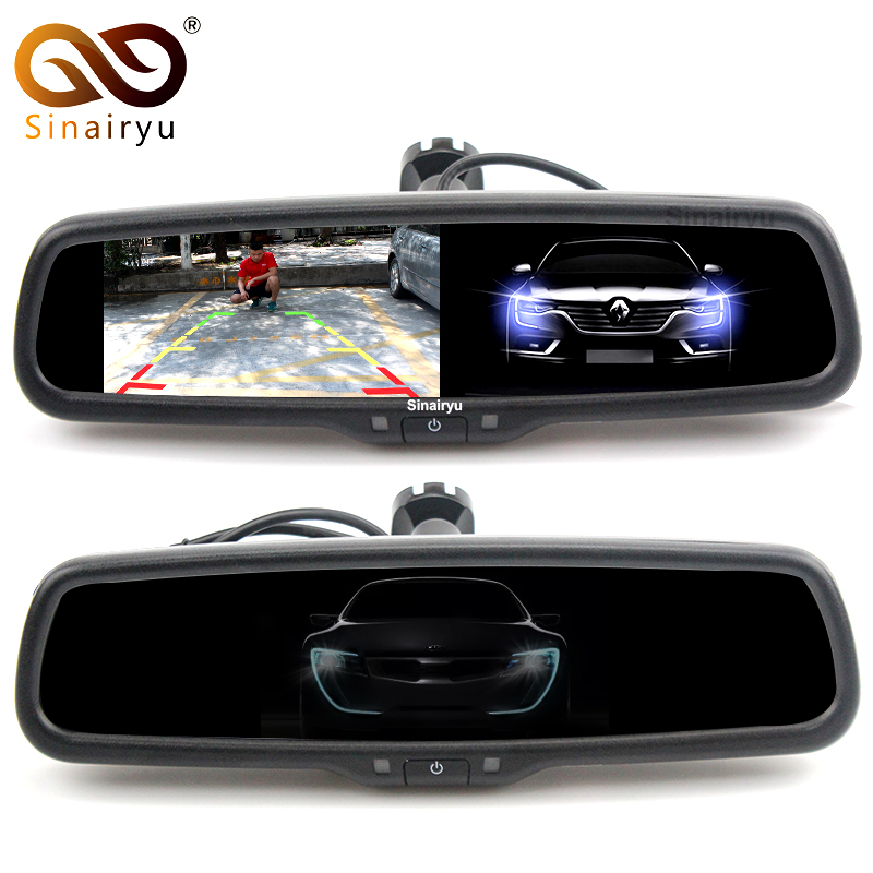 Auto Dimming HD 800*480 Special Bracket 4.3 TFT LCD Car Parking Rear View Rearview Mirror Monitor Video Player 2 Video Input sinairyu hd 800 480 car mirror monitor 5 tft lcd mirror car parking rear view monitor 2 video input connect rear front camera