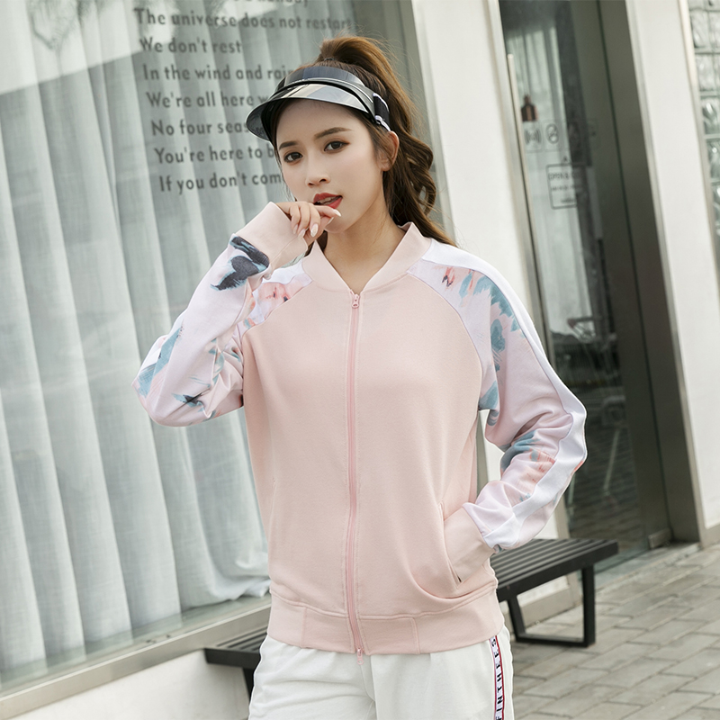 Women Tennis Jackets Long Sleeve Workout Yoga Shirt With Zipper Slim O-neck Pink Gym Clothing Tops Print Chinese Element Pattern