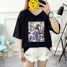 2019 Summer New Women's T-shirt Korean Fashion Characters Print Loose Large Size Casual Female Tshirts  V-Neck  Oversize Tops все цены
