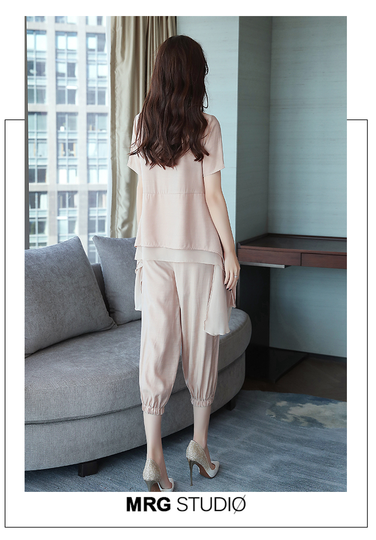 2019 Summer Linen Two Piece Sets Women Plus Size Short Sleeve Tops And Cropped Pants Suits Office Elegant Casual Women's Sets 57