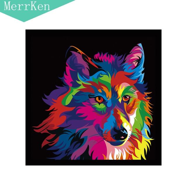 5d diy diamant peinture point de croix dessin color loups - Dessin colore ...