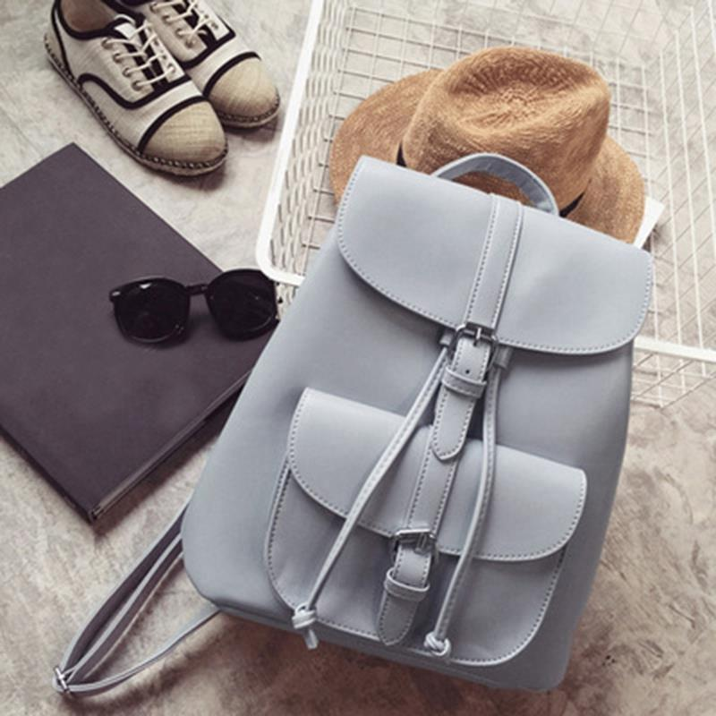 FGGS-Fashionable Womens Pull-Rope Pu Leather Backpack Belt Decoration Schoolbag Student Shoulder Bag(Light Grey)FGGS-Fashionable Womens Pull-Rope Pu Leather Backpack Belt Decoration Schoolbag Student Shoulder Bag(Light Grey)