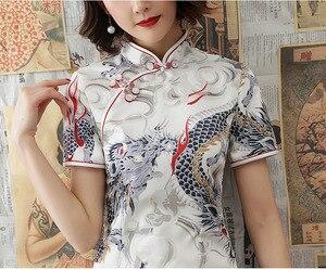 Image 3 - שנג קוקו לבן דרקון Cheongsam שמלות מודרני צעיר סגנון שונה גרסה Qipao יומי קצר שנחאי מזרחי סיני שמלה