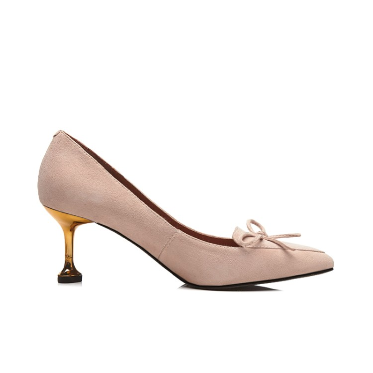 Dama Sexy Chico Alto Barco Gamuza De Tacón Zapatos Pie Básicas Dedo Mujer Puntiagudo Negro Del Zorssar apricot Mujeres Vestir Bombas dqt5t