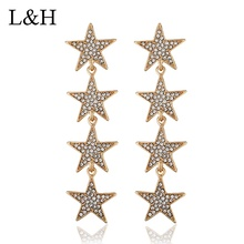 Simple Rhinestone Crystal Pentagram String Long Drop Earrings Exaggerated Stars Tassel Jewelry For Women boucle d'oreille