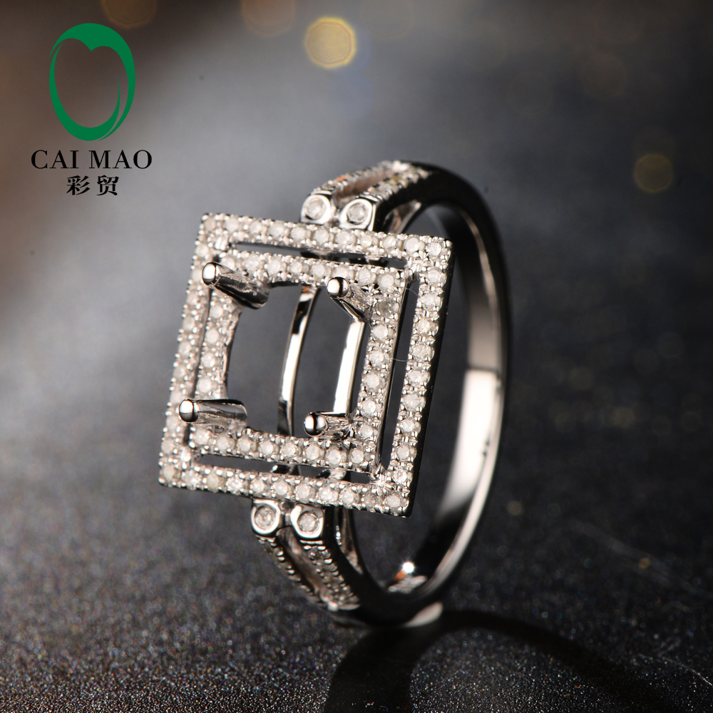 New Arrivals 7mm Round Shape 14K White Gold & 0.39ct Diamond Engagement Semi Mount Setti ...
