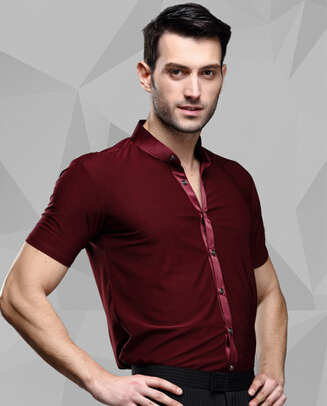 Picture of New Male Summer Adult Latin Dance SHIRT MENS Shirts Latin Training Clothes Modern Dance Rumba Samba Jive Ballroom Shirt