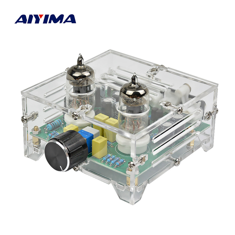 Aiyima Fever 6J1 Tube Amplifier Preamp Board Hifi Dual Channel Class A Volume Control Tone Preamplifier Board With Crystal Case assembled jv15 hifi pga2311pa remote volume board with dual display