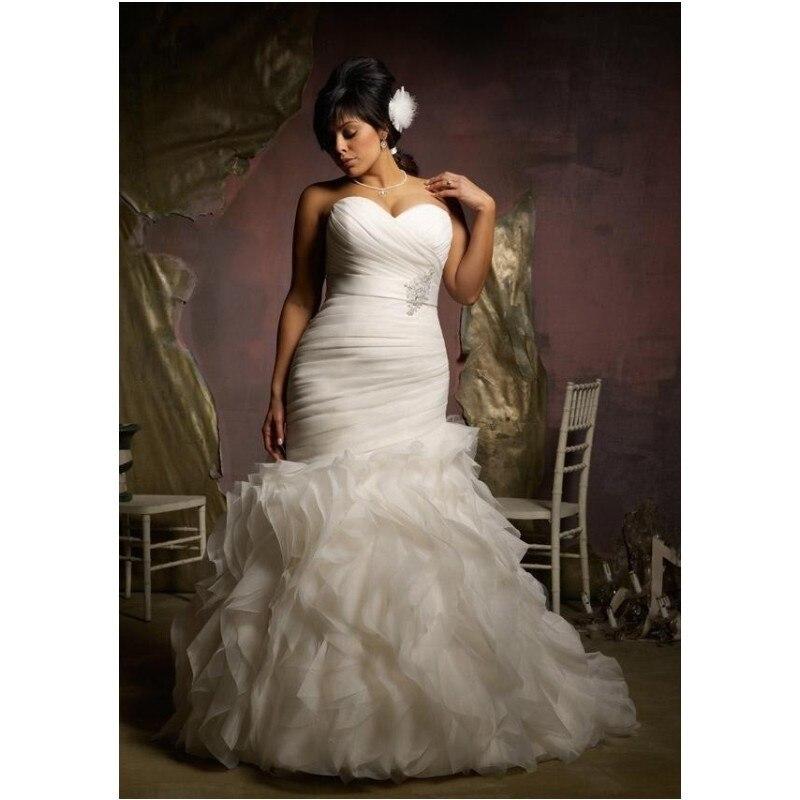 Robe De Mariage 2019 White Ivory Organza Pleat Beaded Ruffles Mermaid Plus Size Wedding Dress Bridal