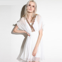 2017 High Quality White Silk Dresses Women Summer V-neck Beading Bohemian Holiday Short Beach Dress vestidos de festa