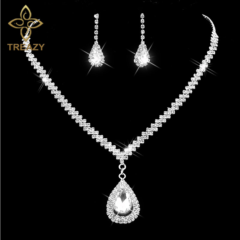 TREAZY Diamante Crystal Rhinestone Bridal Jewelry Sets Silver Color Waterdrop Necklace Earrings Wedding Jewelry Sets Accessories все цены