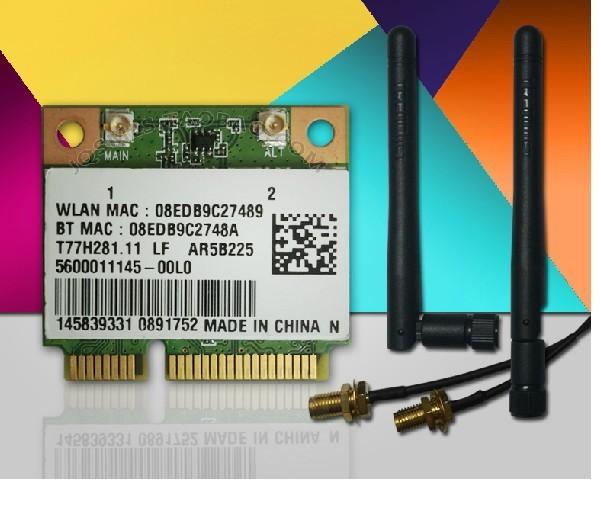 Novo cartão Wireless com antena para ATHEROS AR5B225 300Mbp MINI PCI-E Card WiFi + Bluetooth 4.0