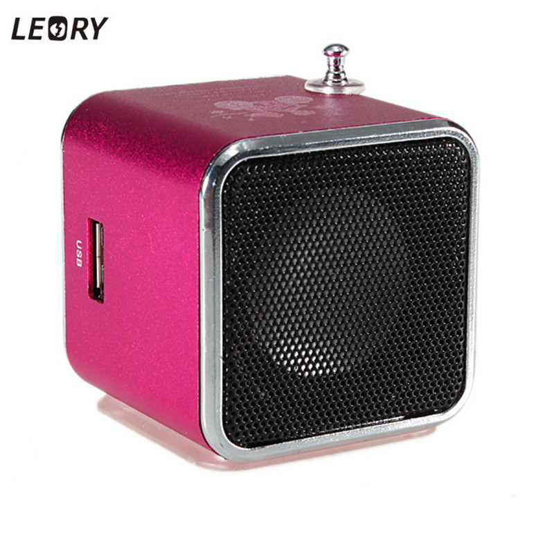 LEORY Mini Speaker Portable USB TF Card FM Radio Stereo Speaker Music Player for Iphone for Ipad PC 6 Colors Available