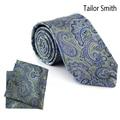 Tailor Smith Luxury Silk Jacquard Paisley Necktie Hanky Set Mens Formal Classic Tie Pocket Square Business Wedding Dress Cravat