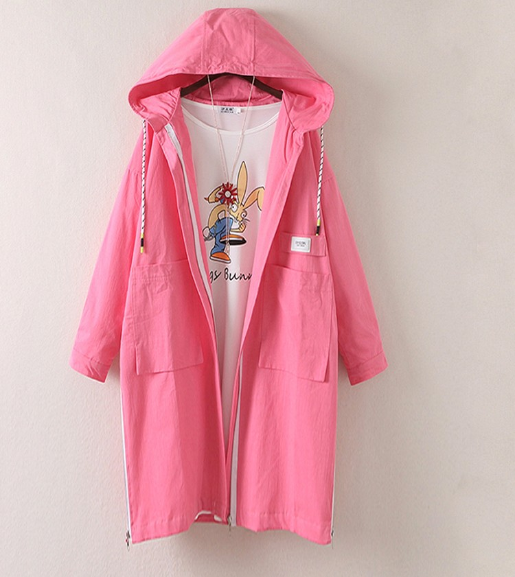 2017 Spring Woman Pink Oversized Trench Coats Girls Loose Fitting Hooded Trench Lady Casual Lined Overcoats Latter Print Outer (2)