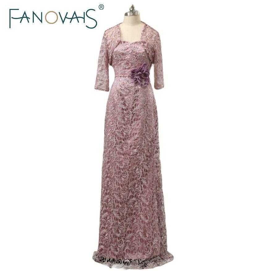 Robe de soirée mère pourpre élégante avec veste dentelle mère de la robe de mariée longue grande taille marié mère robe demi manches