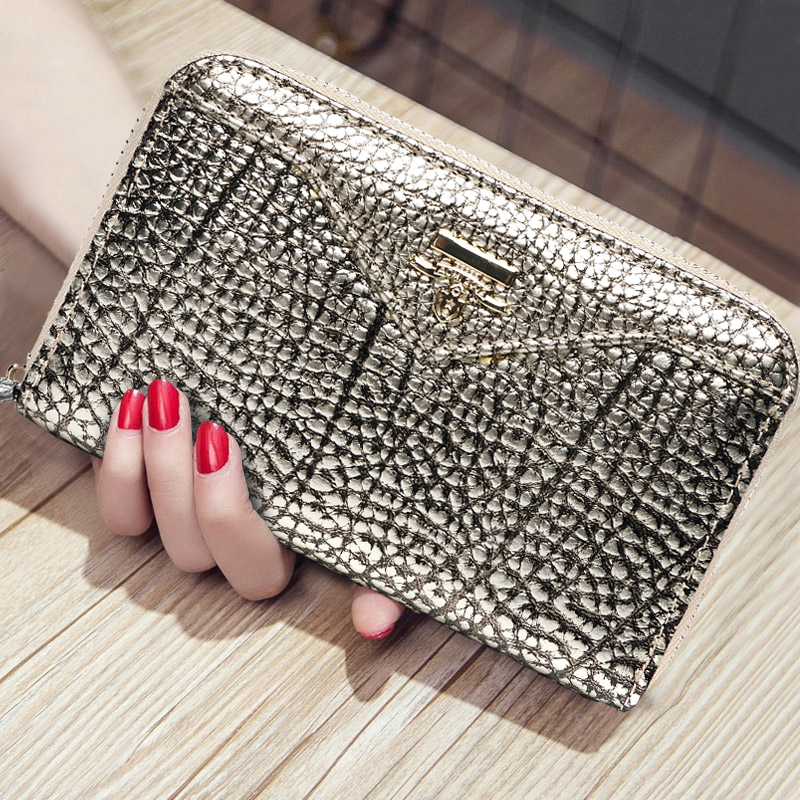 Genuine Leather Short Wallet Female Wallet Zipper Multi-card Holder Coin Key Note Pocket Women's Hand Clutch Evening Bags Purse blingbling shiny sequins leather wallet women short zipper wallet purse fashion wallet key coins bags female clutch money bags