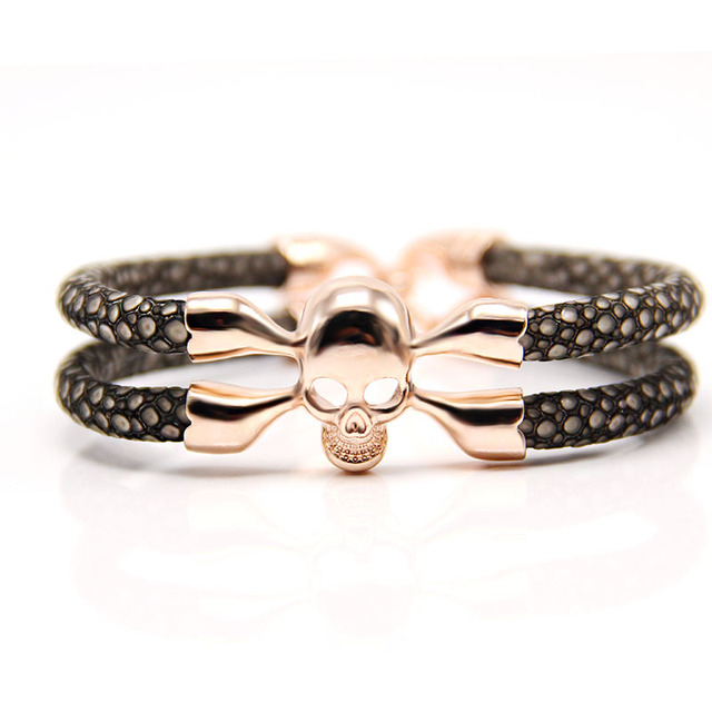2016 customsize Fashion Stingray skull bracelet for man and women Luxury man Skull Bracelet