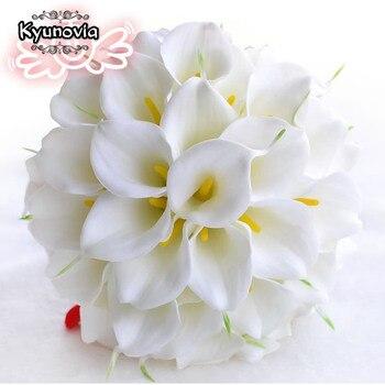 d199172cc5eb Kyunovia hermosa Real touch PU Calla lirio blanco boda ramos de novia ramo  de la boda buque de noiva D69