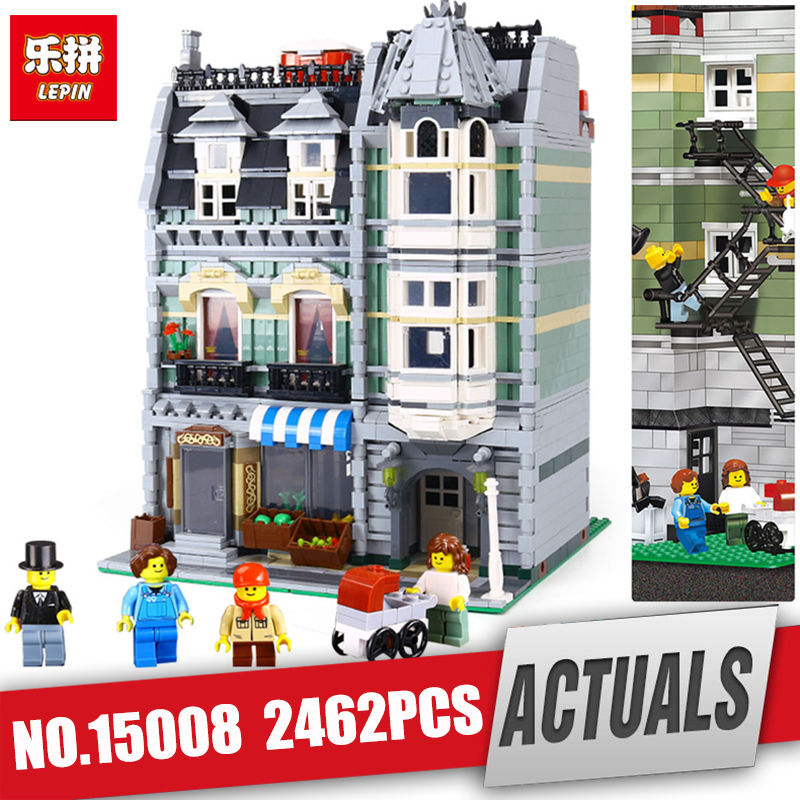 DHL LEPIN 15008 Genuine City Street Green Grocer Model Building Kit Blocks Bricks Funny Toy Compatible kids Gift legoing 10185 dhl lepin15008 2462pcs city street green grocer model building kits blocks bricks compatible educational toy 10185 children gift