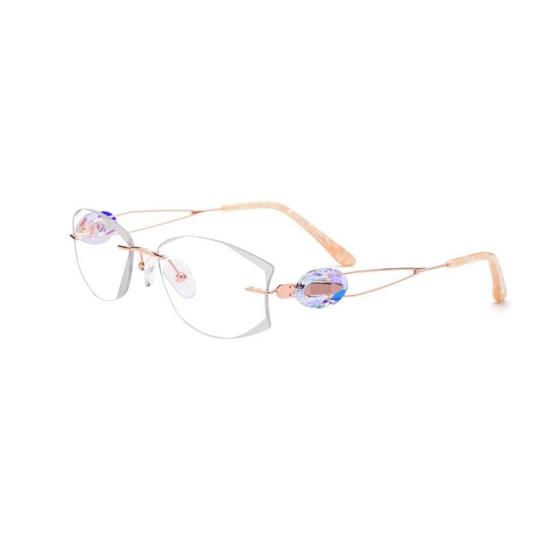 Titanium Gold Rimless Drilling Women Eyeglasses Fashion Optical Frame Fashionable Diamond Clear Glasses Size 53-18-140