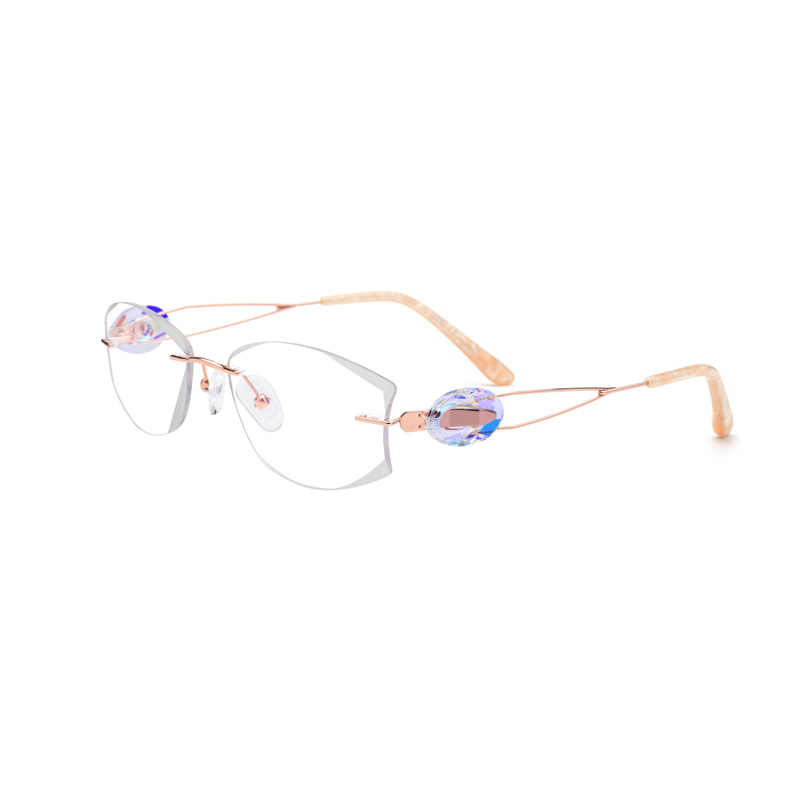 86116f4aa047 Detail Feedback Questions about Titanium Gold Rimless Drilling Women  Eyeglasses Fashion Optical Frame Fashionable Diamond Clear Glasses Size 53  18 140 on ...