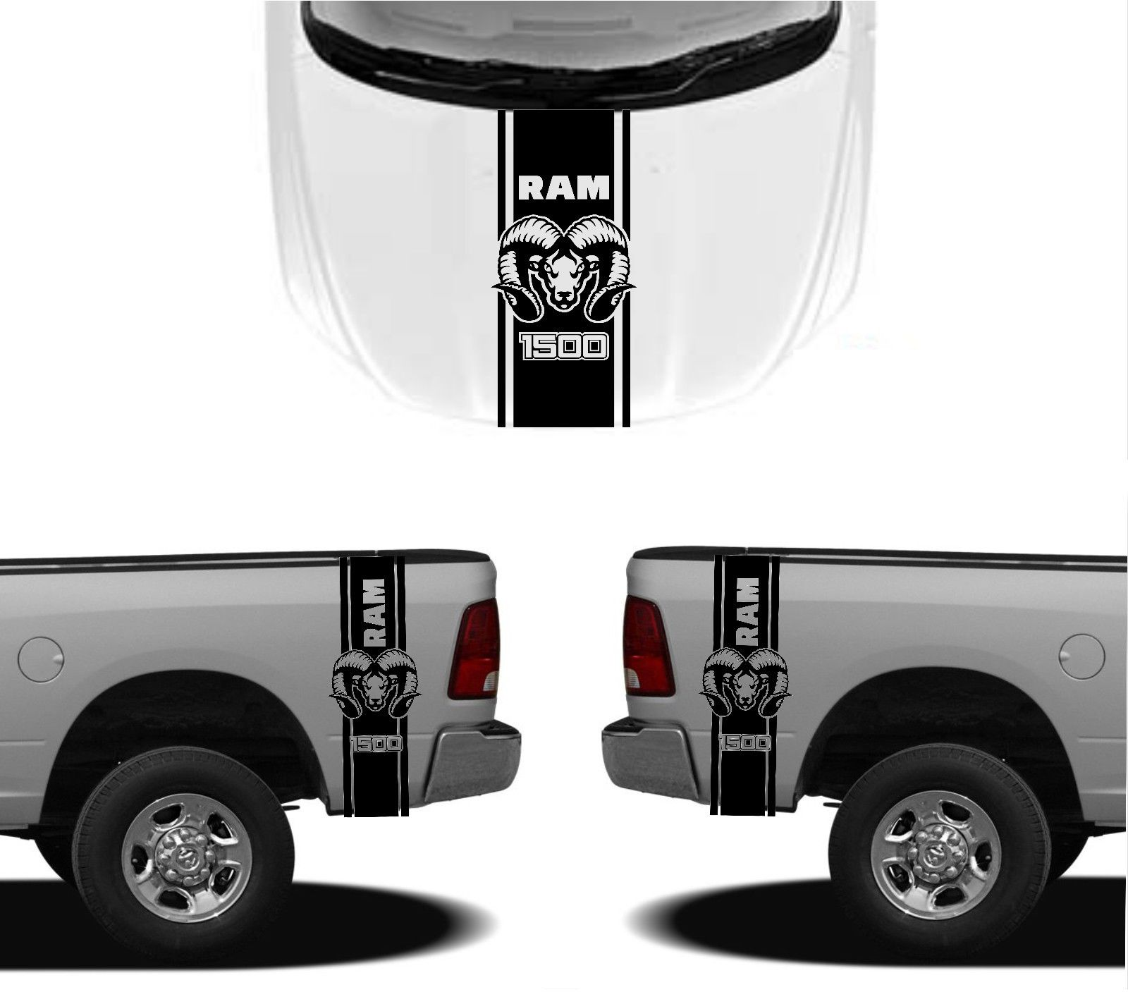 car styling for 3x dodge hood fender decals ram hemi 1500 2500 graphics vinyl body stickers in. Black Bedroom Furniture Sets. Home Design Ideas