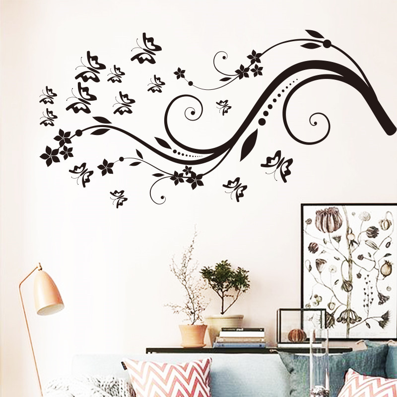 Art Beautiful Design Home Decoration Vinyl Butterfly Flower Wall Sticker  Removable Pvc House Decor Decals In Living Room Bedroom In Wall Stickers  From Home ...
