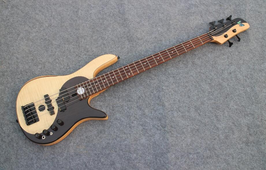 Flamed Maple Top Yin Yang TaiJI Color Butterfly 5 string Bass Guitar Guitarra All Color Available high quality factory custom shop butterfly bass bass guitar butteryfly deluxe electric bass guitar yin and yang bass