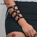black sexy Armlet arm piece bracelet strap wristband harness Rose with Heart BOdy harness cage bondage Hand tied with Rave Wear