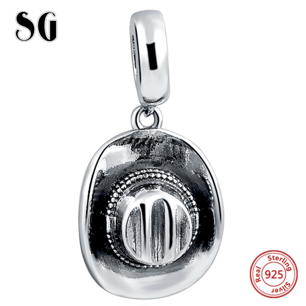 SG Fit pandora Bracelets silver 925 Original The cowboy hat DIY Charms Pendant Authentic Jewelry for Men 39 s Gift 2018 new style in Beads from Jewelry amp Accessories