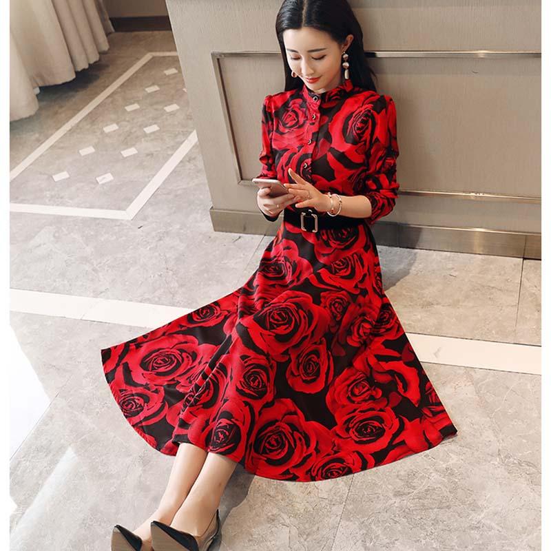 d7cbd78744d6 2018 Stampa cherry Maniche Nuovo Qualità Delle Donne A Media Lunghe Rose Del  Autumntemperament Lungo Peony Elegante red Rose Alta Modo ...