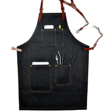 Genuine Leather Belt Simple Kitchen Denim Aprons Brand Waiter Aprons With Pockets Restaurant Home Cooking Tool