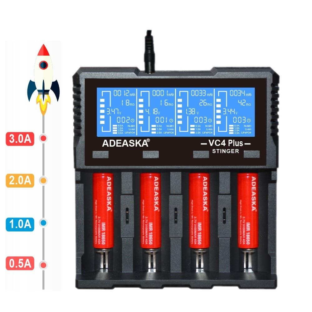 ADEASKA VC4 PLUS C4 VC4 LCD Smart Battery Charger for Li-ion/IMR/INR/ICR/LiFePO4 18650 14500 26650 AA 3.7 1.2V 1.5V Batteries D4
