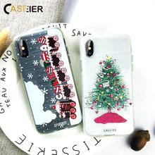 CASEIER Christmas Phone Case For iPhone X XS MAS XR Soft Silicone Funda MAX New Year Accessories