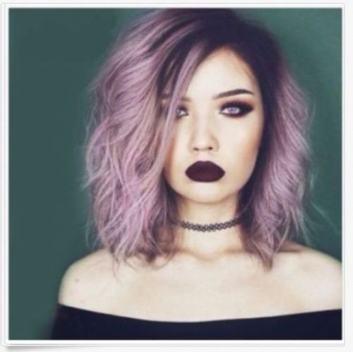 Attractive Purple Ombre Medium Synthetic Shaggy Natural Culy Cosplay Full Wig Hair