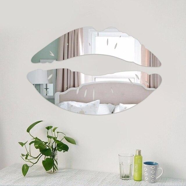 Moderne Morgen Kussmund Wandspiegel Aufkleber Schlafzimmer Art Abziehbild Hauptdekor  Dekoration
