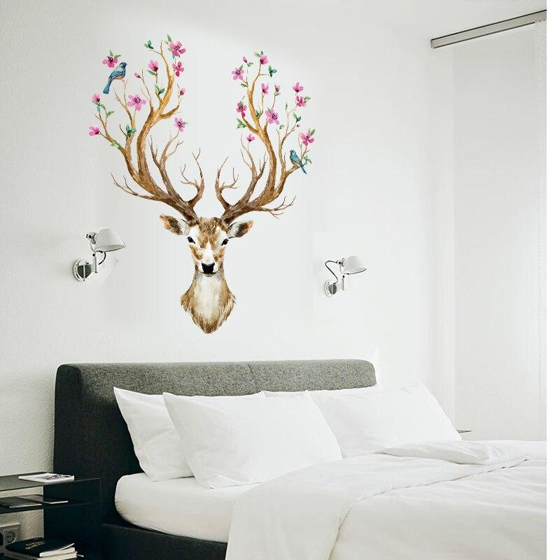 flower bird reindeer murals deer head wall decals wateroproof wall