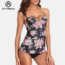 Attraco Tankini Set Swimsuit Swimwear Retro Floral Print High Waist Women Tankini Vintage Bikini Set Bathing Suit Bikini цена 2017
