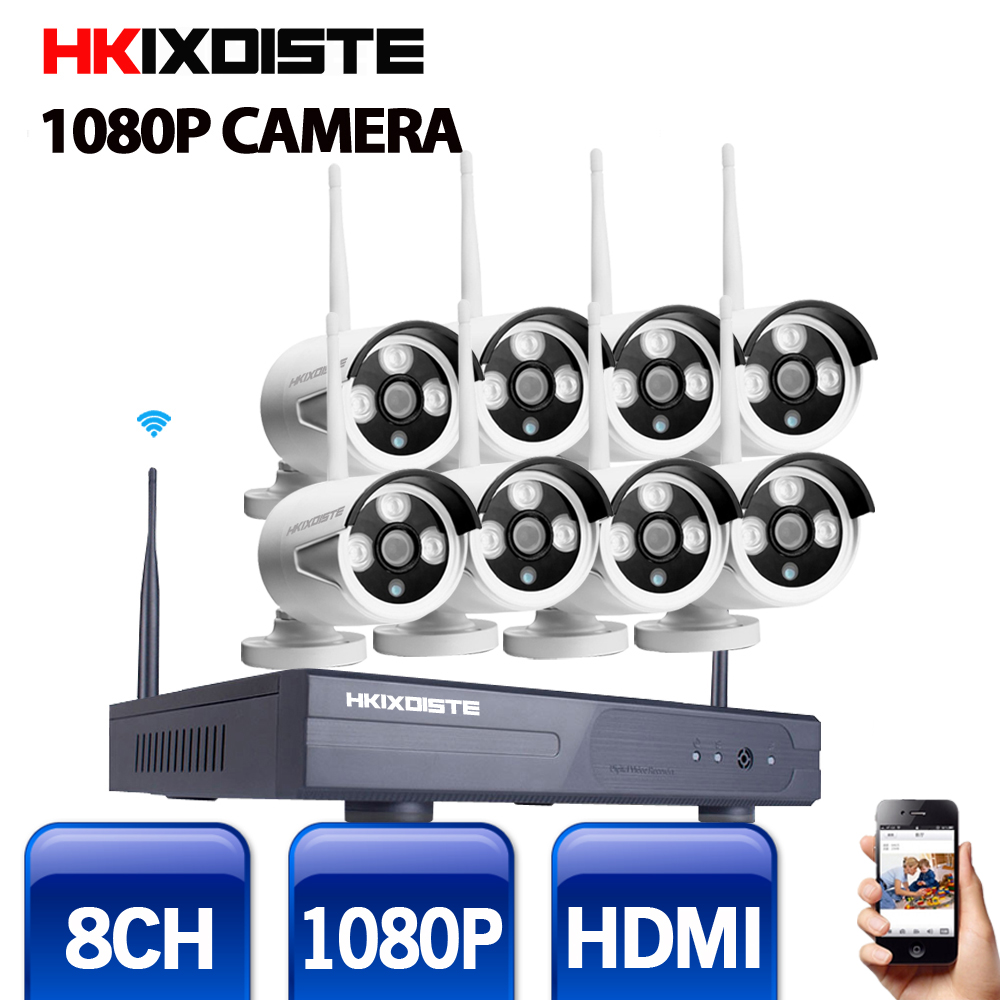 2MP CCTV System 1080P 8ch HD Wireless NVR kit  Outdoor IR Night Vision IP Wifi Camera Security System surveillance waterproof 8ch nvr kit 720p 3 6mm waterproof outdoor onvif ir ip camera 1 0mp and 8ch 1080p 720p nvr for cctv security system free shipping