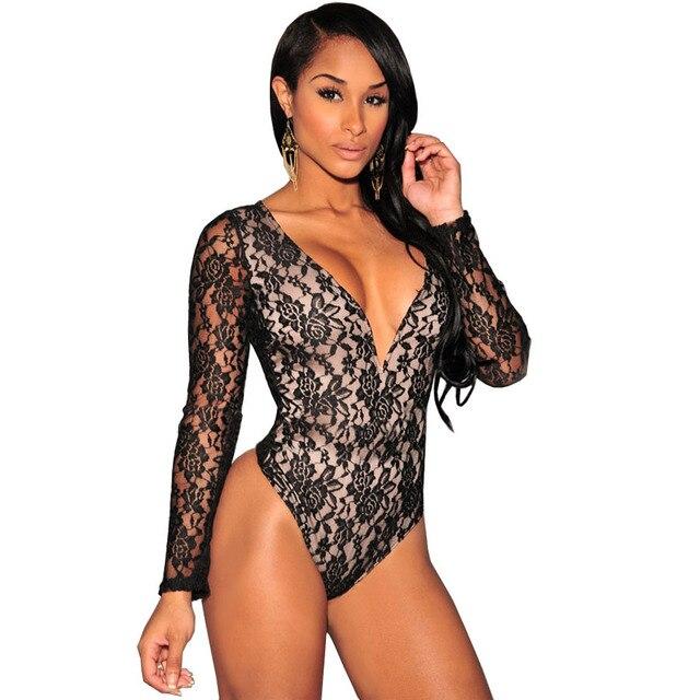 Macacao Feminino Elegant Jumpsuit Plus Size Romper Summer Lace Bodysuit  Women Jumspuit Long Sleeve Sexy Clubwear Overalls C1528 29afc5951