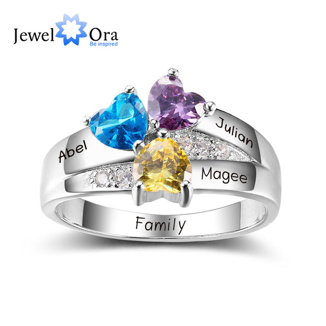 Personalized Engrave Birthstone Jewelry DIY 925 Sterling Silver Heart Stone Name Ring Best Christmas Gift (JewelOra RI102403)