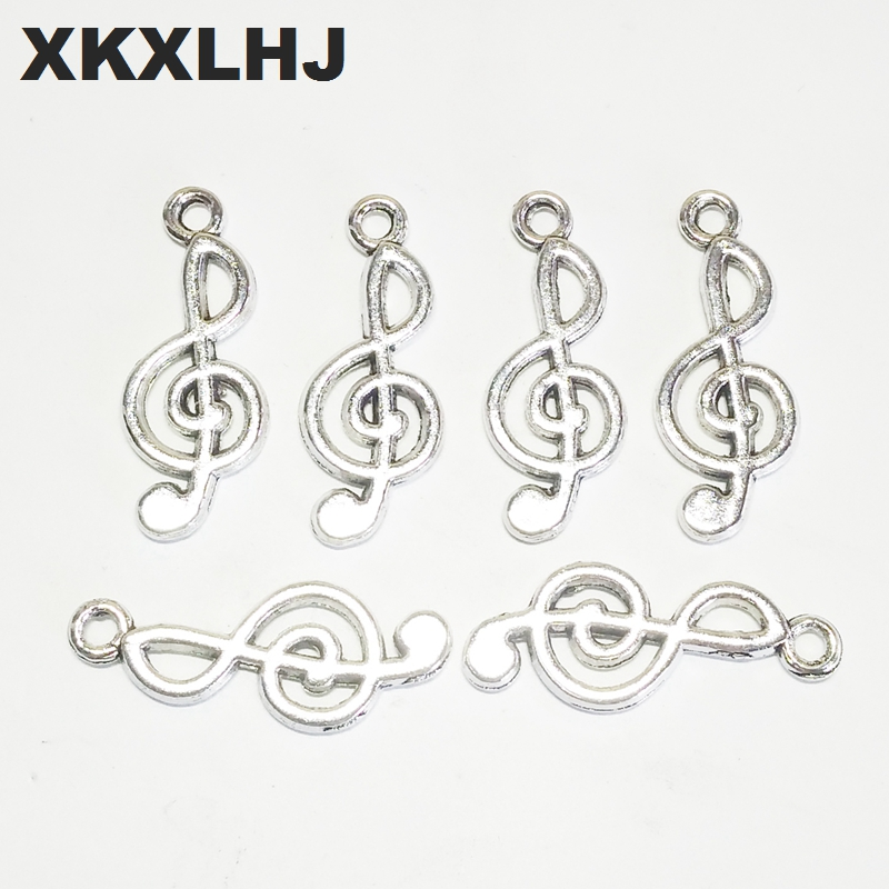 XKXLHJ 20pcs Charms Musical Note 24x10mm Tibetan Silver Plated Pendants Antique Jewelry Making DIY Handmade Craft