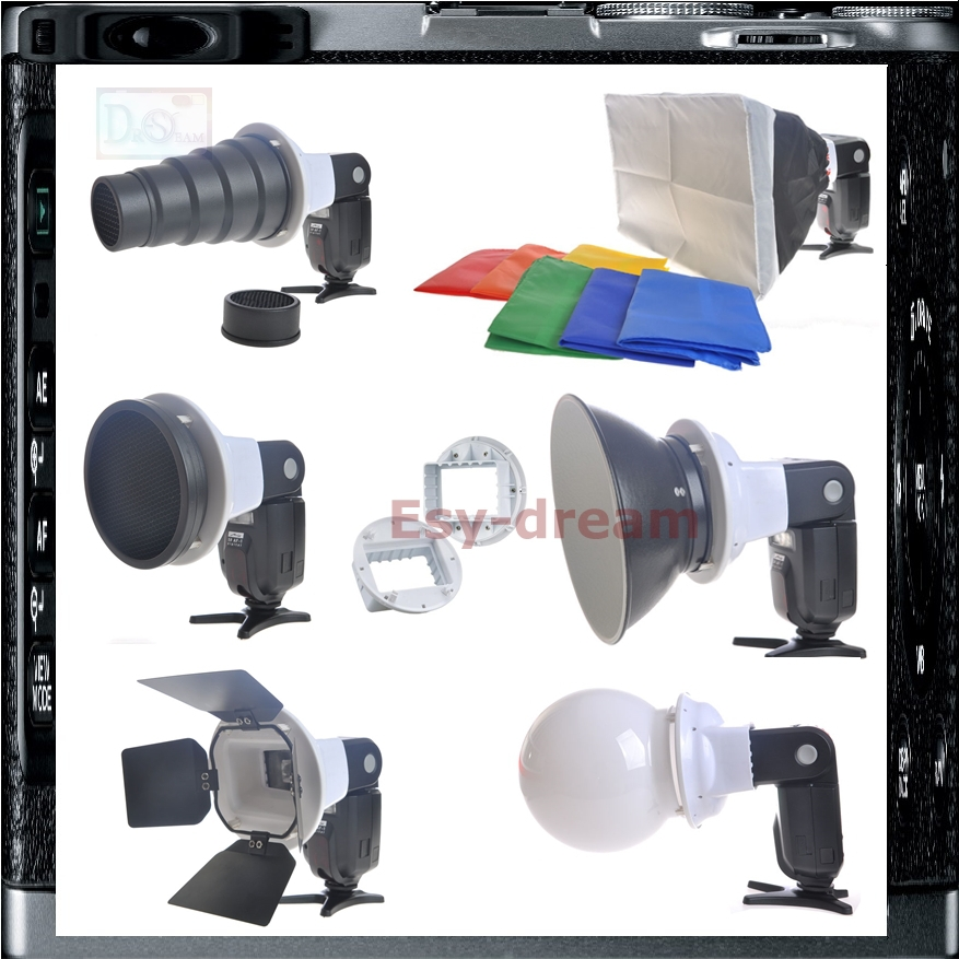 6in1 Flash Speedlite Accessories Kit Adapter Softbox Diffusor For Canon 580EX II SB26 SB25 SB24 Di622 G40 FL40 FL50R DMW-FL500 все цены