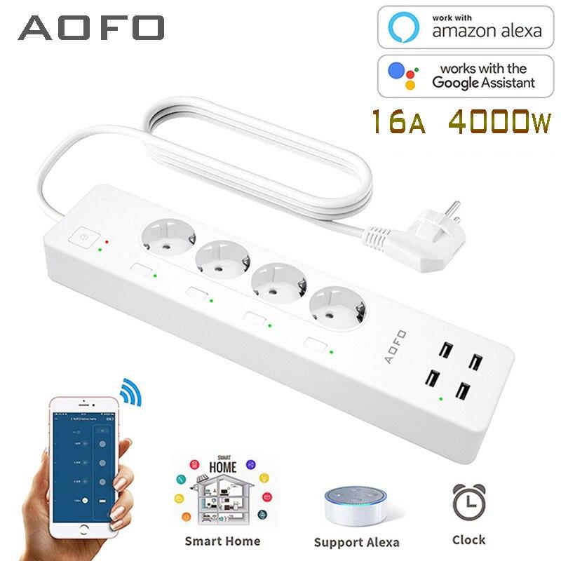 Protection contre les surtensions à bande d'alimentation intelligente WiFi avec 4 prises intelligentes 4 Ports USB rallonge, fonctionne avec l'assistant Alexa et Google