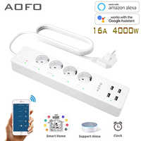 WiFi Smart Power Strip Surge Protector with 4 Smart Plugs 4 USB Ports Extension Cord, Work with Alexa & Google Assistant