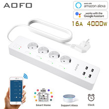 WiFi Smart Power Strip Surge Protector with 4 Smart Plugs 4 USB Ports Extension Cord, Work with Alexa & Google Assistant(China)