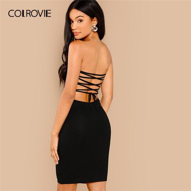 3c136ecced COLROVIE negro vestido de encaje sin espalda vestido tubo Sexy Vestido  Mujer sin mangas de verano elástico Slim corto vestidos de Club